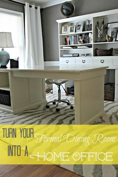 Repurpose your little used formal dining room in to an office. Via Southern State of Mind: Dining Room Turned Home Office Details