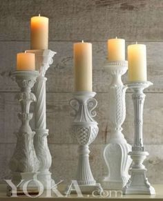 1st Floor / Sitting On Fireplace, In The Cayla Staff Living Room / Five Vintage White Candle Holders, With Candles.