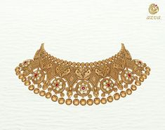 Azva handcrafted gold necklace with peacocks and kundan flowers  #Goldjewellery #luxury #style