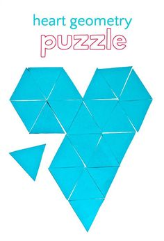 Clever heart puzzle that challenges kids to practice math concepts. Makes a fun geometry activity for the classroom or at home. Geometry Activities, Fun Math Activities, Valentines Day Activities, Math Resources, Indoor Activities, Math For Kids, Puzzles For Kids, Montessori Math, Love Math