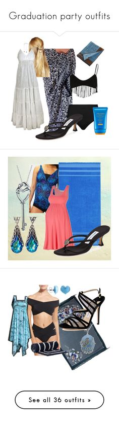 """Graduation party outfits"" by thesassystewart on Polyvore featuring La Blanca, River Island, Manolo Blahnik, DesignSix, Emanuel Ungaro, Shiseido, Mermaid Maternity, Bling Jewelry, NOVICA and Oye Swimwear"