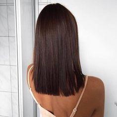 Long sleek bob / Lob haircut  medium lenght hairstyle ideas   Choclate Brown lob