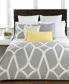 Bedding from Macys - Hotel Collection Modern Lancet Bedding Collection - Bedding Collections - Bed & Bath - Macy's Home Bedroom, Bedroom Decor, Master Bedroom, Master Suite, Hotel Collection Bedding, Queen Bedding Sets, Queen Duvet, Bed Linen Design, Luxury Bedding Collections