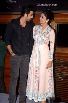 Ranbir Kapoor and Anushka Sharma. Anushka is wearing Kavita Bhartia outfit