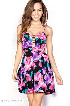 """""""Lillianna"""" Pink, Purple and Black Plunging Fit and Flare Floral Dress"""