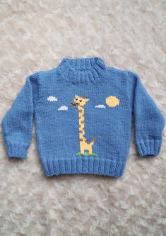 Intarsia - Giraffe Chart & Childrens Sweater Knitting pattern by InstarsiaThe pattern comes with written knitting instructions for sweater 0 - 5 years and the Ting Giraffe chart. The chart can be used with any INSTARSIA pattern. Baby Boy Knitting Patterns, Baby Cardigan Knitting Pattern, Knitting Charts, Knitting For Kids, Intarsia Knitting, Knitting Basics, Vest Pattern, Baby Boy Cardigan, Baby Sweater Patterns