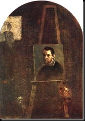 A second example of the mirror in self-portrait is provided by the Bolognese painter Annibale Carracci who played with the vocabulary of the self-portrait by showing himself as a self-portrait in his own studio in a painting of 1604.