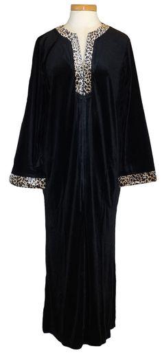 NEW Charter Club Womens Caftan Nightgown Velour Sleepwear Black Leopard Sz M $79 #CharterClub #Gowns