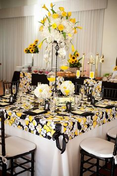 Boho chic hollywood glam modern black white yellow ballroom boho chic hollywood glam modern black white yellow ballroom centerpiece centerpieces daisy indoor reception mississippi modern spac my wedding ideas junglespirit Image collections