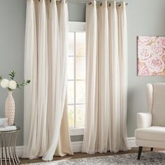 Rosdorf Park Brockham Solid Room Darkening Thermal Grommet Curtain Panels Size per Panel: W x L, Curtain Color: Beige Rod Pocket Curtains, Grommet Curtains, Drapes Curtains, Curtain Panels, Bedroom Curtains Blackout, Thermal Curtains, Cream Curtains, Bedroom Window Curtains, Rustic Curtains