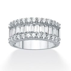 2.29 TCW Emerald-Cut Cubic Zirconia Sterling Silver Ring at PalmBeach