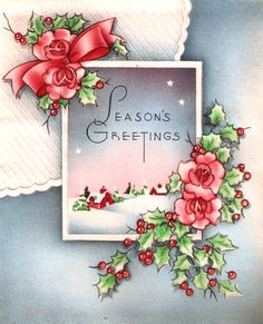 Winter Scene Roses Holly Vintage Christmas Card