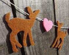 Smaller Baby Deer Heart Garland, Fawn Garland, Woodland Baby Shower,Felt Garland, Woodland Party, Nursery Decor,