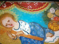 Pittura su Vetro - Gesù Bambino disteso cm 18x13 (particolare) (Repro) Per maggiori info contattatemi! pincisanti@hotmail.com