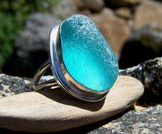 Amazing Genuine Turquoise Sea Glass Ring love by seaglasshuntress, via Etsy.
