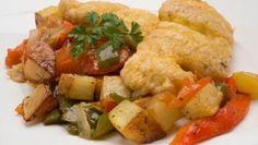 Receta de Bacalao con fritada y patatas #bacalao