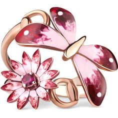 Gucci Gucci Flora Ring In Rose Gold, Enamel And Rubies (17 995 SEK) ❤ liked on Polyvore featuring jewelry, rings, accessories, fine jewellery, rose gold, women, butterfly jewelry, rose gold ring, ruby ring and enamel flower ring