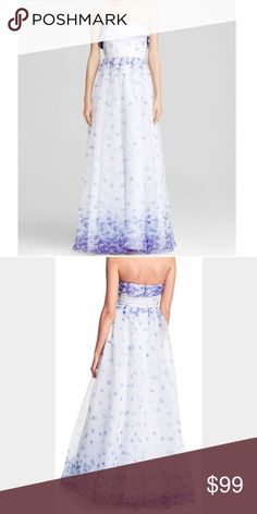 ADRIANNA PAPELL STRAPLESS organza FLORAL gown ADRIANNA PAPELL STRAPLESS Organza FLORAL PRINTED Ball GOWN, SZ 8 NEW, $220 Adrianna Papell Dresses Maxi