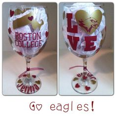 Perfect for any BC party!   Boston College Wine Glass can be by CreateBeautywithLove on Etsy, $20.00 College Game Days, College Parties, Grad Parties, Graduation Quotes, Graduation Cake, Boston College, Glass Etching, Tailgating, Eagles