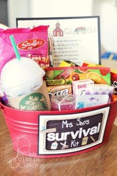 """""""Back to School Survival Kit"""" Teacher Gift """"What I like most about my classroom is with whom I share it."""" teacher appreciation gifts for the. Schul Survival Kits, Survival Kit For Teachers, Teacher Survival, Survival Skills, Survival Guide, Back To School Gifts For Teachers, Teachers Toolbox, College Survival, Survival Food"""