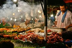 Here's what to order in Marrakesh: Brochettes (kebabs of lamb, beef, or offal); harira (a hearty bean soup); stewed escargot; merguez (sausage) sandwiches; thin, Moroccan-style macarons filled with vanilla or coconut.