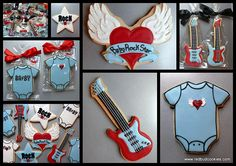 Rock Star baby shower decorated sugar cookies.