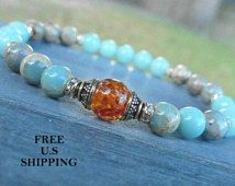 Amber Mala bracelet with Aqua Terra Jasper, Amazonite meditation Yoga bracelet, Energy bracelet, Yoga mala, Reiki, wrist mala, om bracelet