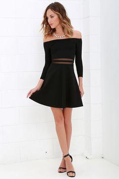 Cute Black Dress - Skater Dress - Mesh Dress - Off-the-Shoulder Dress - $49.00