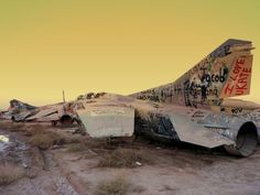These abandoned MiG-23 Flogger jets were photographed in an aircraft graveyard at Joint Base Balad in Iraq.
