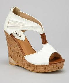 White + cork wedge
