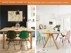 The mix and match dining set is a great look. It can be seen across many different interior styles — Scandinavian, modern, bohemian, eclectic, etc. It does, however, take a bit of thought and planning to pull it off, because you can't just order one up from the store. In many cases it's also a very budget friendly option, because you can use either dated, thrifted or random chairs you have around to create a look. There really are endless possibilities between mixing colors, sizes, styles…
