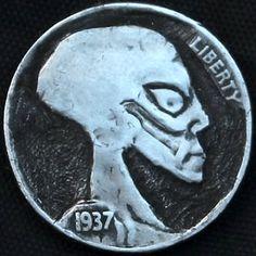 "DAVID ""COALBURN"" RAYMOND HOBO NICKEL - ALIEN SKULL - 1937 BUFFALO PROFILE Alien Skull, Hobo Nickel, Carving, Buffalo, David, Profile, User Profile, Wood Carvings, Sculptures"