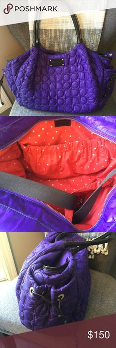 Kate spade large tote bag Lovely Kate Spade large purple quilted tote bad with red lining kate spade Bags Totes