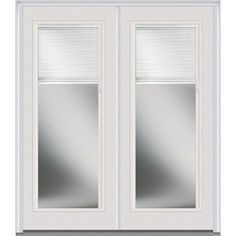 Milliken Millwork 66 in. x 81.75 in. Classic Clear RLB Full Lite Painted Fiberglass Smooth Exterior Double Door, Brilliant White