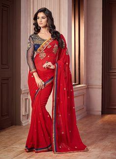 Pleasance Red #Georgette Wedding Wear #Designer Saree  #karvachauth #karvachauthsarees #orangesarees #onlineshopping #retailsarees #singlesarees