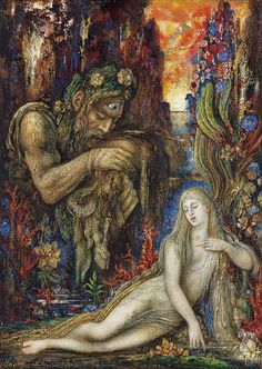 Gustave Moreau Galathea ca. 1896 Ink, tempera, gouache and watercolor on cardboard . x 27 cm Museo Thyssen-Bornemisza, Madrid Country of Origin: France Movement: Symbolism Dante Gabriel Rossetti, Greek And Roman Mythology, Greek Gods, Wiccan, Acis And Galatea, Watercolor Postcard, Hades And Persephone, Guache, Pre Raphaelite