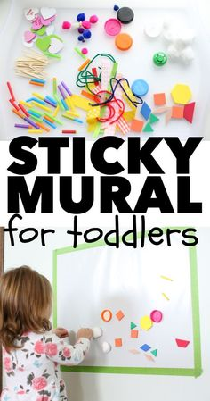 Sticky Mural for Toddlers - I Can Teach My Child! Sticky Mural for Toddlers: A super simple indoor activity for toddlers and a great way to use random craft supplies! Should you absolutely love arts and crafts you really will love this cool info! Sensory Activities, Craft Activities For Kids, Infant Activities, Preschool Activities, Crafts For Kids, Indoor Toddler Activities, Toddler Activities For Daycare, Art Projects For Toddlers, Indoor Games For Toddlers