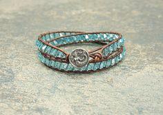 | ♕ |  Mermaid Bracelet Silver Turquoise Crystals by singingcatstudio