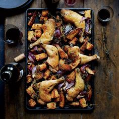 Sheet-Pan Chicken with Sourdough and Bacon | This supereasy sheet-pan chicken gets great flavor from bacon, red onion and crisp, fat–basted croutons. Get the recipe at Food & Wine.