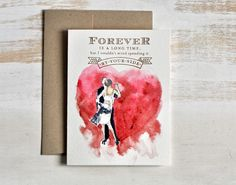 Hand painted Watercolor Valentines Card Pink flowers Anniversary