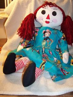 """I made this Raggedy Ann doll for our great niece Daisy.   I used the """"Sweet Annie"""" pattern from Mamaws Creations. It was so simple to put together."""