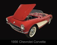 1956 Chevy Corvette by Chris Flees Stunning photograph of classic car. This red 'Vette is beautifully captured with a black background in this image by Christopher!  Featured on Facebook: https://www.facebook.com/pages/Amazing-Art-and-Artists/755691297800619