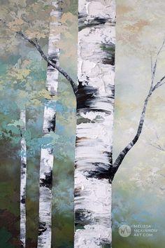 Abstract Landscape Art - Melissa McKinnon Contemporary Artist - Aspen & Birch Tree Painting & Prints - NEW Painting Available Acrylic Paint On Wood, Simple Acrylic Paintings, Acrylic Art, Modern Paintings, Tree Drawing Simple, Simple Tree, Birch Tree Art, Birch Trees Painting, Abstract Landscape