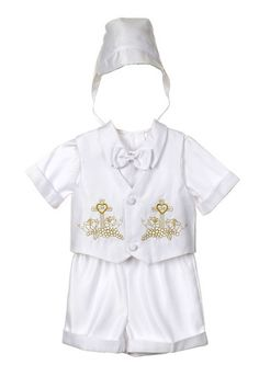d56323dcb Details about New Baby Boy White Christening Baptism Outfit Suit set size  01234(0-24M) Gold