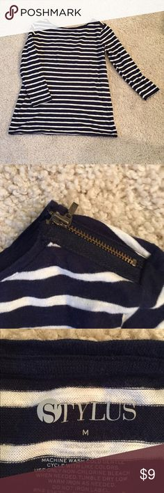 Boatneck navy striped top Cute zipper detailing at neckline. Thinner material. EUC. 3/4 sleeves. Stylus Tops