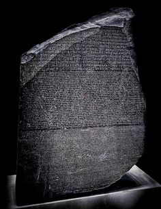 The Rosetta Stone is an ancient Egyptian granodiorite stele inscribed with a decree issued at Memphis in 196 BC on behalf of King Ptolemy V