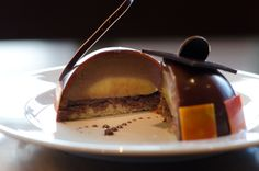 Thomas Haas, TH Patisserie: Milk Chocolate Passionfruit Cake with Crispy Hazelnut Wafers, and Orange Almond Cake-bottom