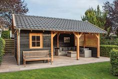 pavillion garten luxury roof with gable roof. By using . - pavilion garden Luxury roof with gable roof. By using black chalk and larch …, - Backyard Pavilion, Backyard Sheds, Backyard Patio Designs, Outdoor Sheds, Backyard Landscaping, Backyard Cabana, Pool Shed, Outdoor Glider, Patio Grande