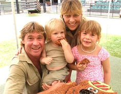 "Irwin Family photo, Dad Steve, Son Bob (Jnr), Mum Terri and Daughter Bindi, sharing the Dream, ""Australia Zoo"". v@e."