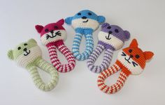 Handmade Infant Toy Baby Rattle Animal Rattle by ZawiHats on Etsy, $12.00 ::: these are very cute and I can see a baby playing (and chewing) on them. Lorr